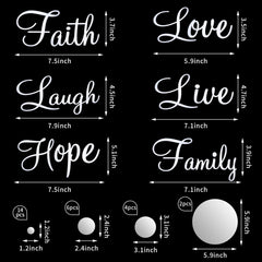 3D Acrylic Mirror Wall Decor Stickers DIY Faith Live Laugh Hope Love Family Mirror Wall Decor Solid Circle Mirror Wall Decal for Home Office School Classroom Teen Dorm Room Decoration Rose Gold