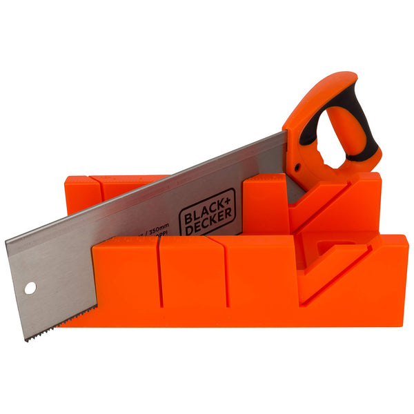Black+Decker 455mm Mitre Frame Box with Steel Saw for 45 & 90 degree cuts , Orange/Black - BDHT20346, 2 Years Warranty