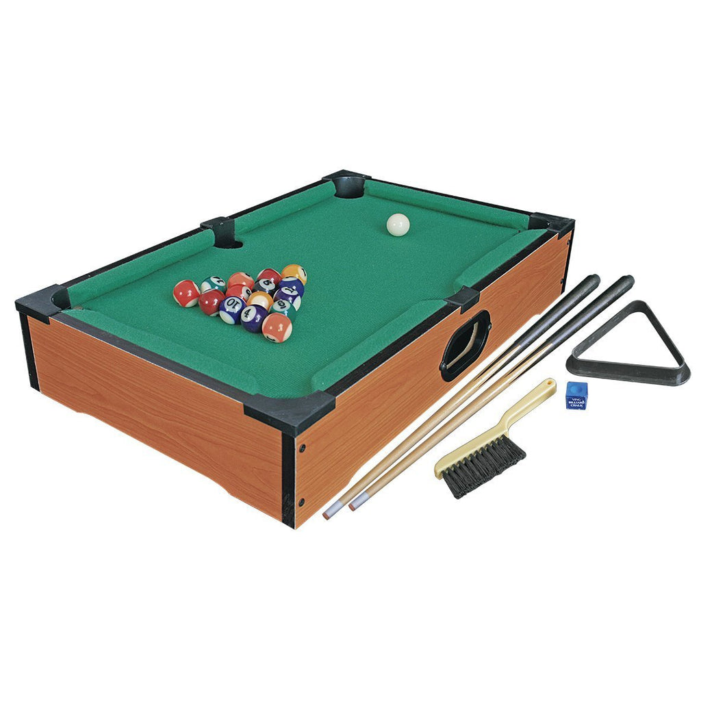 Invero® Deluxe Mini Wooden Table Pool Table Billiards Snooker Family Fun Game - كاملة مع 15 كرة ، كرة جديلة ، 2x عصا ، طباشير ، فرشاة قماش ومثلث - 50 × 30 سم