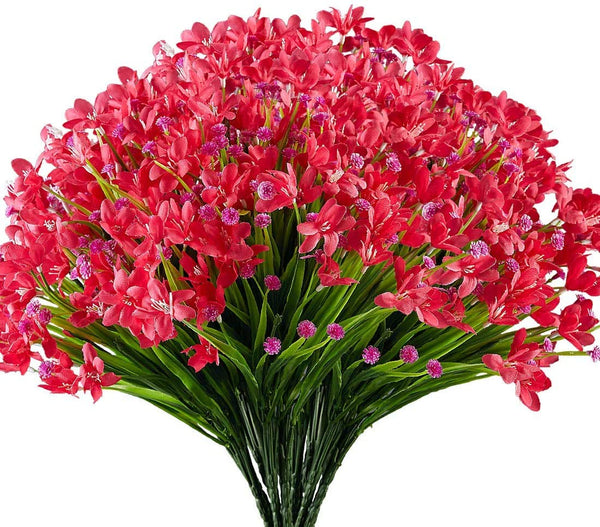 Ancokig Artificial Daffodils Flowers, 4Pack Fake Artificial Greenery UV Resistant No Fade Faux Plastic Plants for Wedding Bridle Bouquet Indoor Outdoor Home Garden Kitchen Office Table Vase (Red)