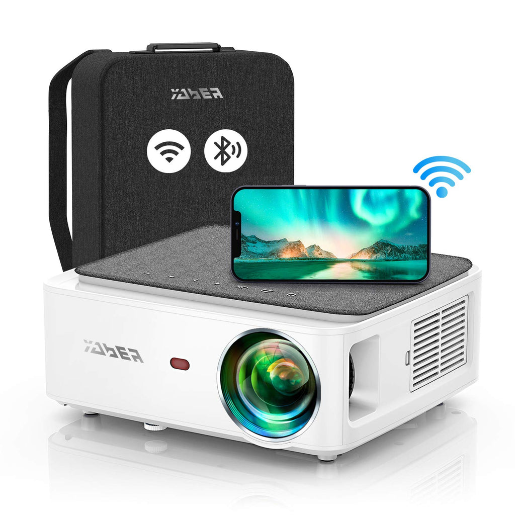 YABER V6 WiFi Bluetooth Projector 7500 Lux Full HD Native 1920 × 1080P Projector ، 4P / 4D Keystone Support 4k & Zoom ، جهاز عرض فيديو LED لاسلكي محمول للمنزل وخارجي لـ iOS / Android / PS4 / PPT