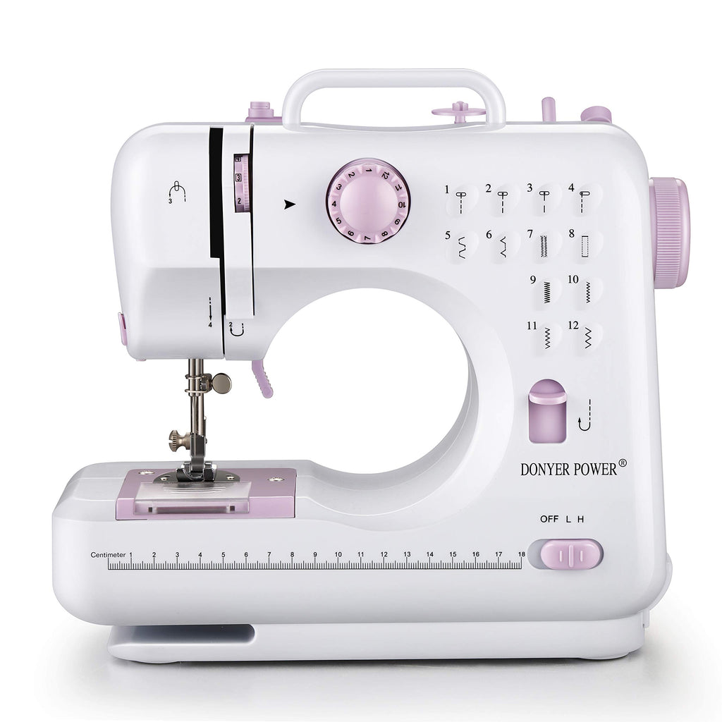 DONYER POWER Electric Sewing Machine Mini Portable with 12 Built-in Stitches, 2 Speeds Double Thread, Embroidery,Foot Pedal