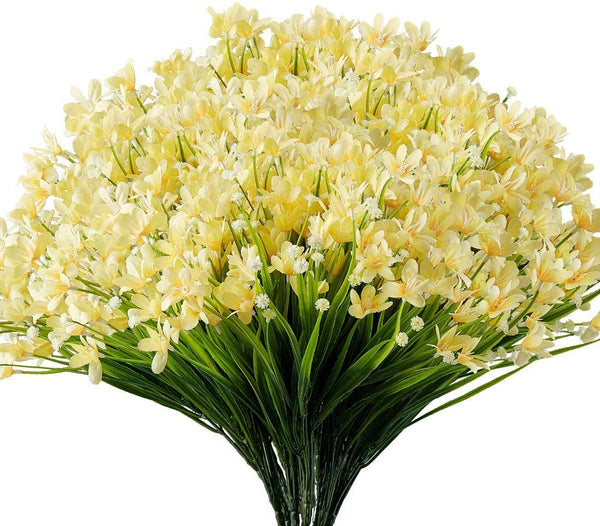 Ancokig Artificial Daffodils Flowers, 4Pack Fake Artificial Greenery UV Resistant No Fade Faux Plastic Plants for Wedding Bridle Bouquet Indoor Outdoor Home Garden Kitchen Office Table Vase (Yellow)