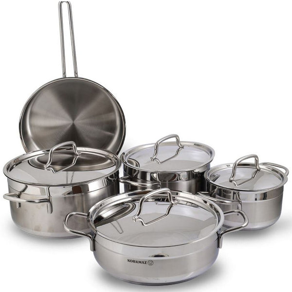 Korkmaz Alfa Stainless Steel Cookware Set 9pcs