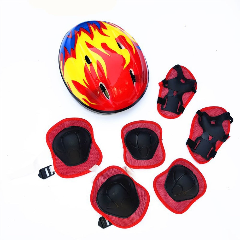 7Pcs Adjustable Kid Roller Skating Bicycle Helmet Knee Wrist Guard Elbow Pad Set for Child Cycling Sports Protective Guard Gear