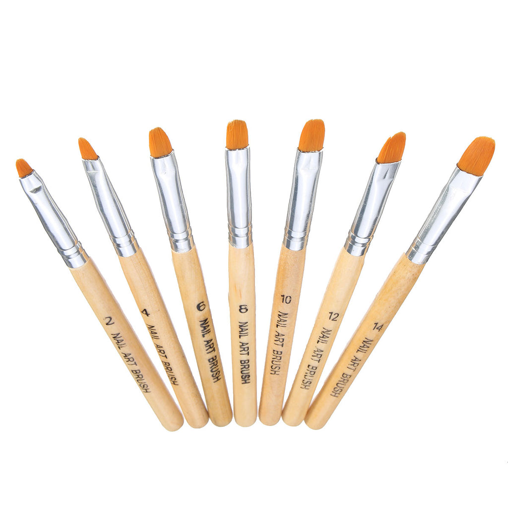 7pcs Nail Art Brushes Set Kit DIY Design Drawing Painting Manicure Tools Wooden Handle