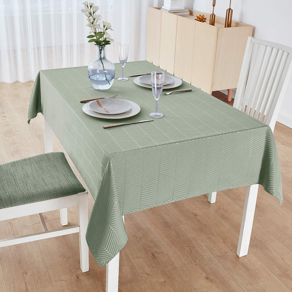 M Morefeel Artlavie Rectangular Tablecloth 60x84, Waterproof Fall Tablecloth for Rectangle Tables, Dining Room, Outdoor, Machine Washable Table Cover (Light Green)