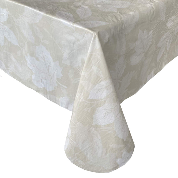 "Newbridge Tossed Rustic Leaves Vinyl Flannel Backed Tablecloth - Country Cottage Leaf Deign Kitchen and Dining Room, Easy Care Wipe Clean Indoor/Outdoor Tablecloth, 60"" x 84"" Oblong/Rectangle, Ivory"