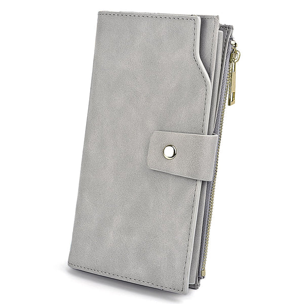 Women's RFID Blocking Wallet Wristlet Clutch 21 Slots Card Organizer Ladies Phone Purse Fits 5.5'' Cellphone PU Leather Grey New Version