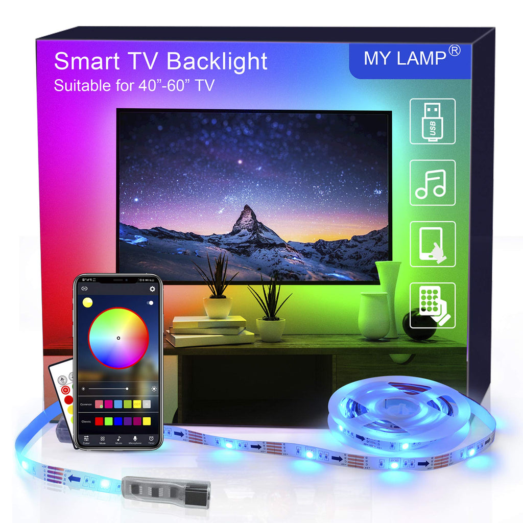 Smart TV Backlight APP,2.5M USB Led Strip Lights with Remote for 40-60 Inch LED TV Backlights RGB 5050 APP Control Sync to Music Bias Lighting TV Led Lights for TV, Bedroom, Party and Home Decoration