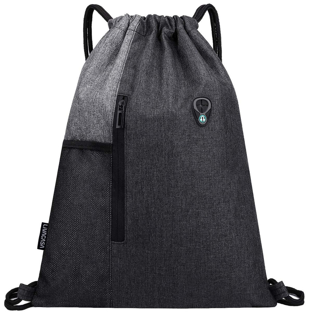 LIVACASA Gym Sack Drawstring Bag Sports Travel Drawstring Bag Water Repellency Mesh Pocket for Water Bottle Light Backpack Sack with Earphones Hole for Men Women Grey 16.9x12.9In