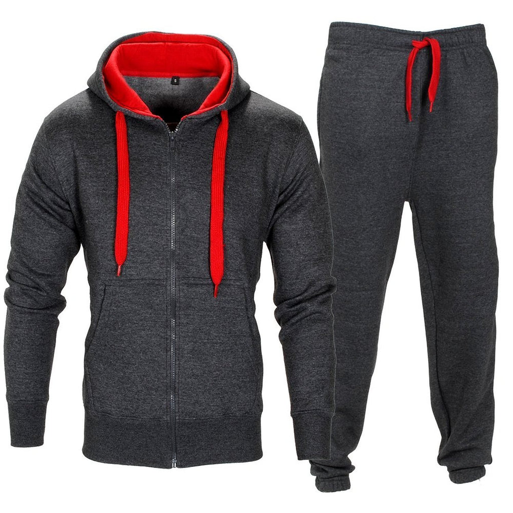 Mens Tracksuit Set Kids Contrast Cord Fleece Hoodie Top Bottoms Jogging Zip Joggers Gym Causal Exercise Running Sport Sweat Suit Pants Plus Size X Large