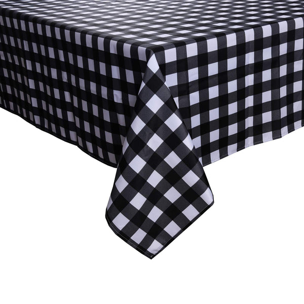 GD-TEX Square Tablecloth Checkered Square Tablecloth - Waterproof Stain Resistant and Wrinkle Resistant Washable Table Cloth for Dining Room and Outdoor Use, 60 x 60 Inch, Black and White Pattern