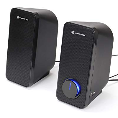 GOgroove Desktop Computer Speakers For Laptop And PC - SonaVERSE UB2 USB Powered Multimedia Speakers With 2-Way Drivers For 32W Of Power And Bass, Built-In Headphone & AUX Input, LED Volume Knob