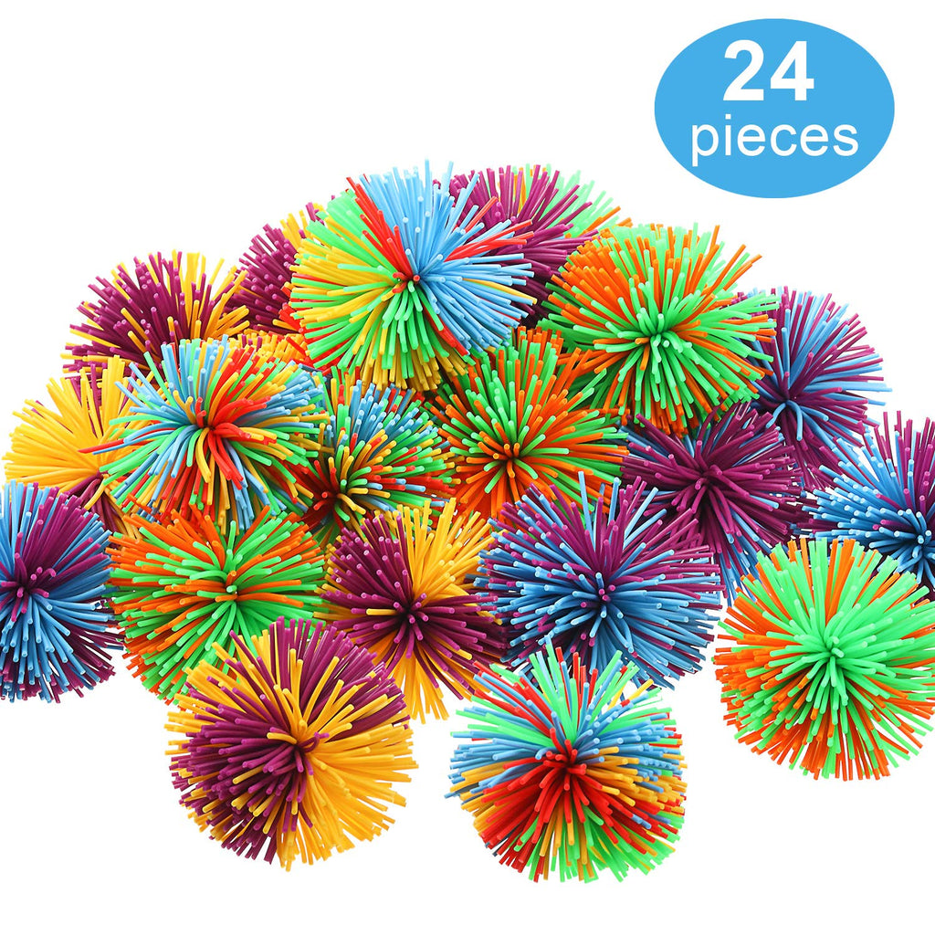 24 Pieces Monkey Stringy Balls Small Soft Active Sensory Toys Fidget Stringy Balls Rainbow Pom Bouncy Stress Balls with Storage Bag (Multicolor, 1.57 Inches)