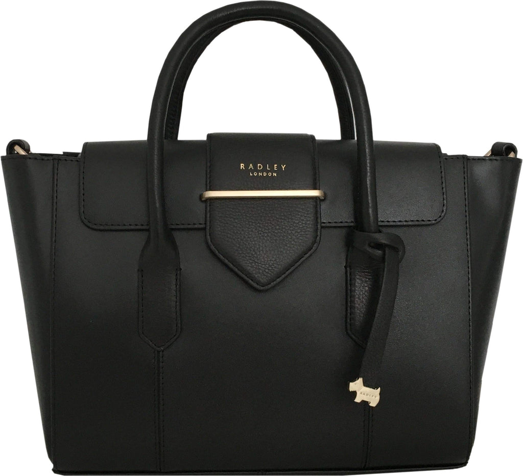 """Palace Street"" Leather Handbag with Detachable Cross Body Strap in Black"