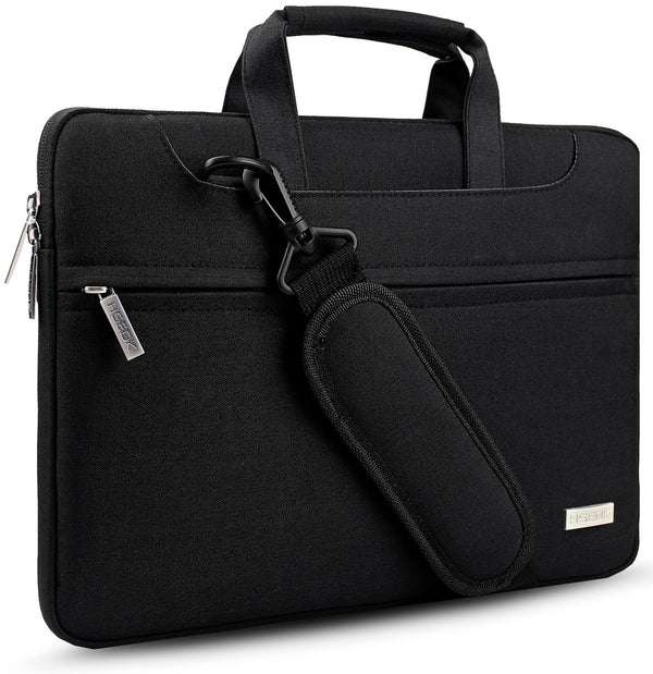 "HSEOK Laptop Shoulder Bag 15 15.6 16 Inch Brifecase, Compatible MacBook Pro 16 15.4 Inch, XPS 15 Spill-Resistant Handbag with Shoulder Strap for Most 14""-16"" Notebooks, Black"