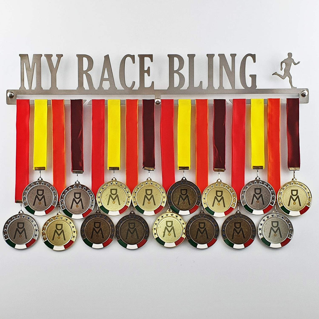 MY RACE BLING - Medal Hangers for Running, Marathon, Runner - Medal Show Wall Mounted - Medal Display Rack - Trophy Holder - Stainless Steel - 100% Made in Italy