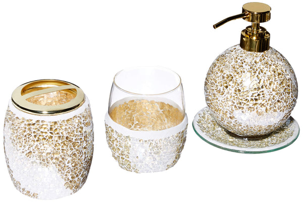 Mosaic Bathroom Accessories Set, 4 Piece Bath Accessory Sets With Gold Soap Dispenser, Toothbrush Holder, Tumbler And Ring Tray