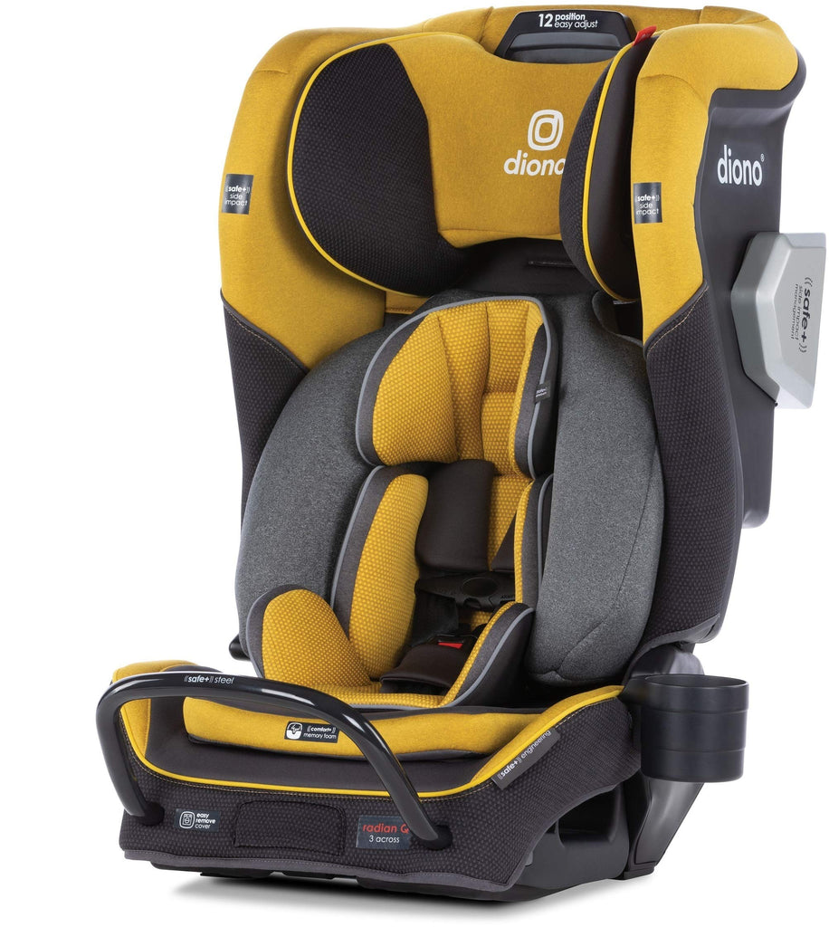 Diono 2020 Radian 3QXT, 4 in 1 Convertible, Safe+ Engineering, 4 Stage Infant Protection, 10 Years 1 Car Seat, Fits 3 Across, Yellow Mineral