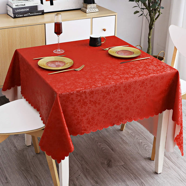 "smiry Waterproof Vinyl Tablecloth, Square Heavy Duty Table Cloth, Wipeable Table Cover for Kitchen and Dining Room (Red, 54"" X 54"")"