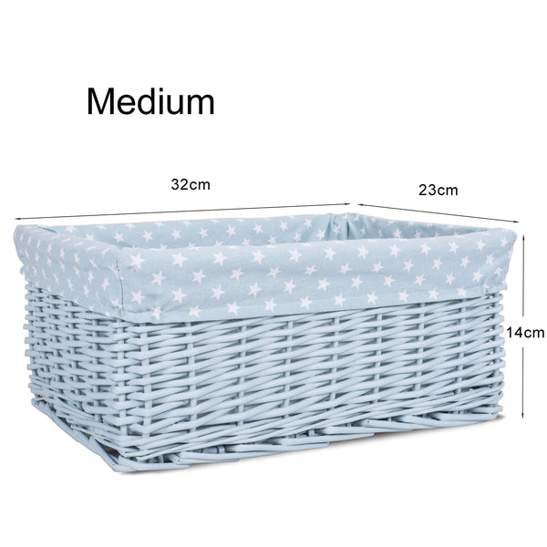 Blue, Small Greenleaves Colorful Painted Nursery Baby Room Wicker Storage Basket New Born Gift Hamper