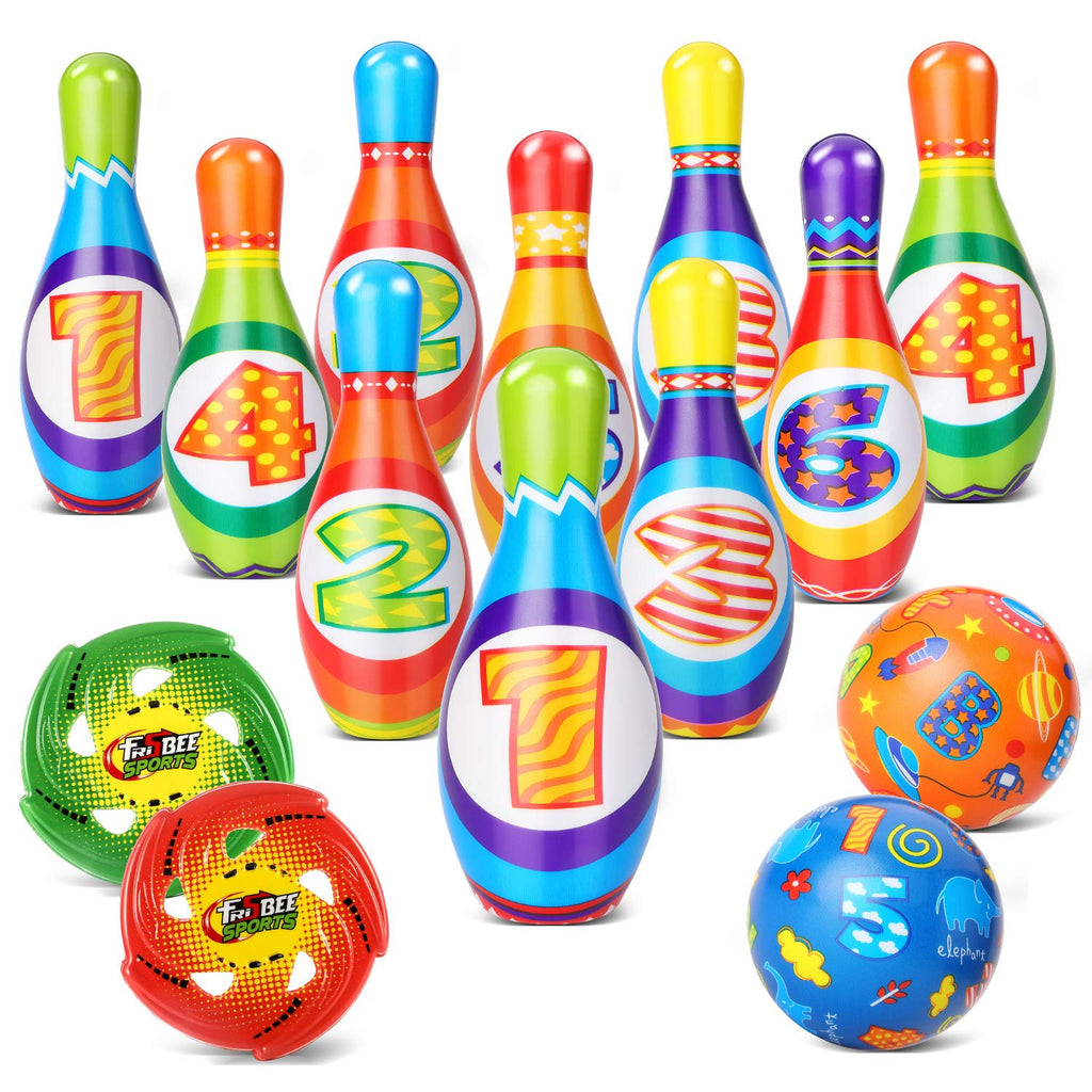 Geyiie Bowling Set Skittles Toys Outdoor Indoor Bowling Toy 10 Pcs Skittles Pins Game with 2 Balls 2pc Flexible Soft Flying Disc for Kids Garden Party Gifts over 3 Years Old