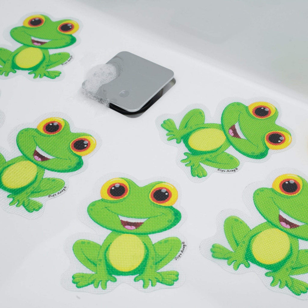 Non Slip Bath Mat Stickers - Modern fun Stylish Alternative to Rubber Suction Mat - Strong Adhesive Textured Stick on Anti Skid safety Treads for Baby Toddler Child - SLIPS AWAY® (5x Finlay Frog)