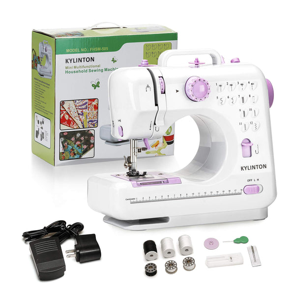 Kylinton Sewing Machine for Beginners Mini Sewing Machine for Kids, Electric Small Sewing Machine with Foot Pedal, 12 Stitches, High-Low Speeds, Automatic Winding for Cloth Girls Adults