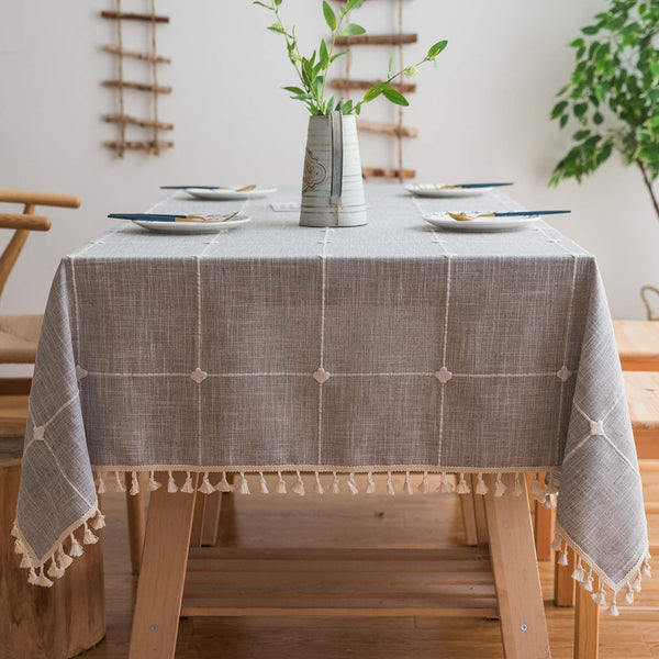 Mokani Washable Cotton Linen Solid Embroidery Checkered Design Tablecloth, Rectangle Table Cover Great for Kitchen Dinning Tabletop Buffet Decoration (55 x 70 Inch, Gray)