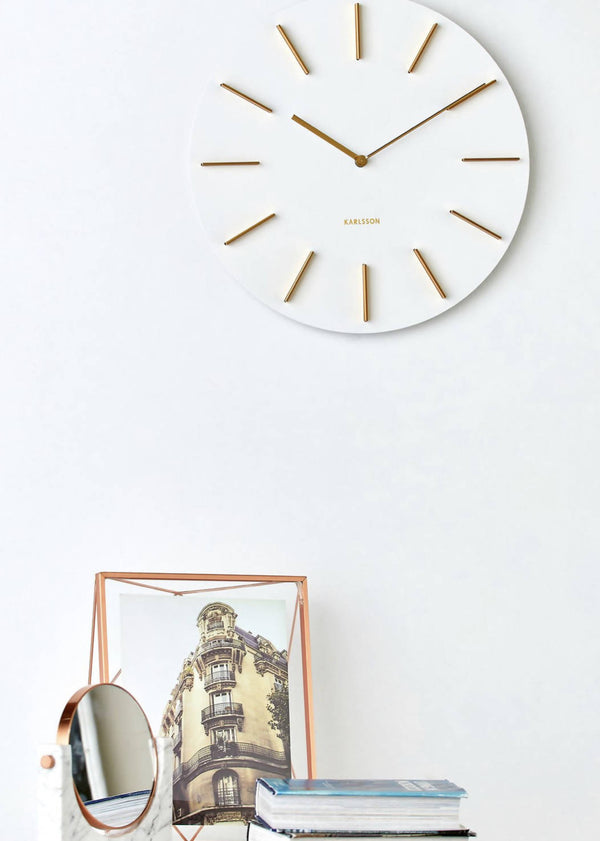 KARLSSON Discreet White and Gold Wall Clock