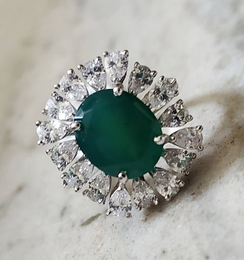 Handmade White Gold Plated Cocktail Wedding Engagement Emerald Diamond Ring