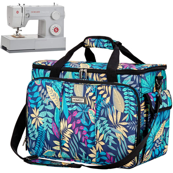 HOMEST Sewing Machine Carrying Case with Multiple Storage Pockets, Universal Tote Bag with Shoulder Strap Compatible with Most Standard Singer, Brother, Janome, Floral (Patent Design)