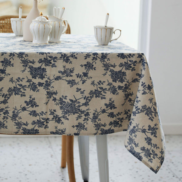 Pastoral Rectangle Tablecloth - 60 x 84 Inch - Linen Fabric Table Cloth - Washable Table Cover with Dust-Proof Wrinkle Resistant for Restaurant, Picnic, Indoor and Outdoor Dining, Floral (Dark Blue)