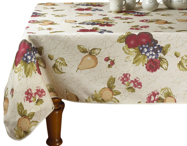 "Violet Linen European Paradise Fruits Vintage Design Printed Oblong/Rectangle Tablecloth, 60"" X 84"", Beige"