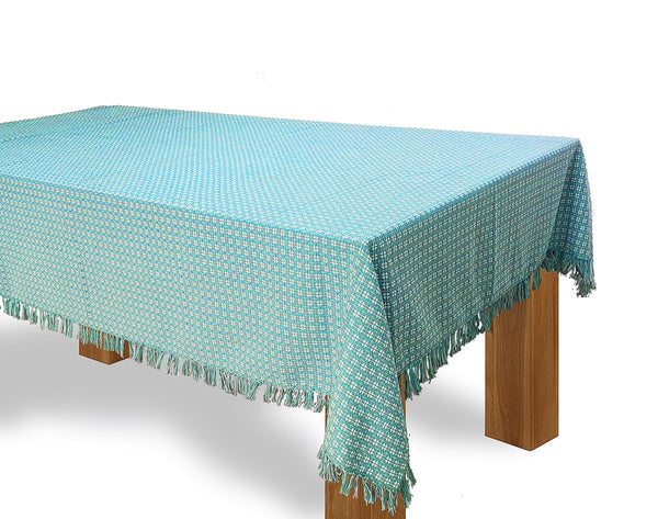 The Season Thread Table Cloth, Pool Blue Light/White Woven Fringed, 100% Cotton Table Cover, Size 60x84 Inch, Suitable for Formal Dining, Everyday Meals and Casual Occasions.
