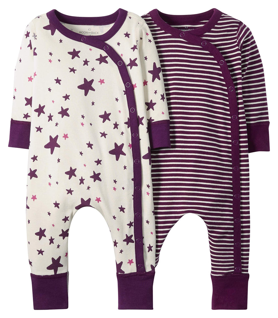 Moon and Back من Hanna Andersson Girls Organic 2 Pack Long Sleeve Romper