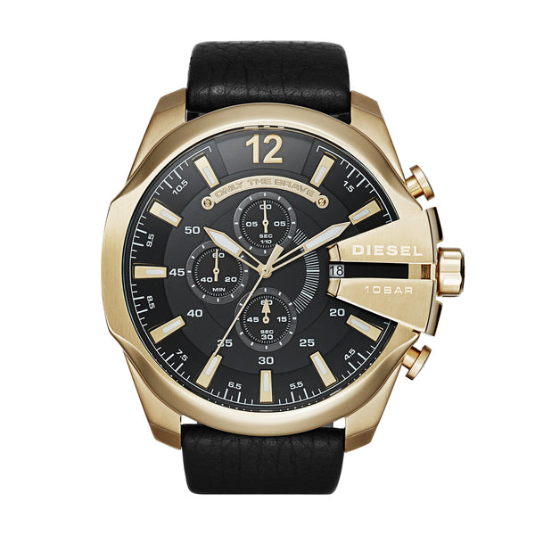 Diesel Men's Mega Chief Chronograph Black Leather Strap Watch DZ4344