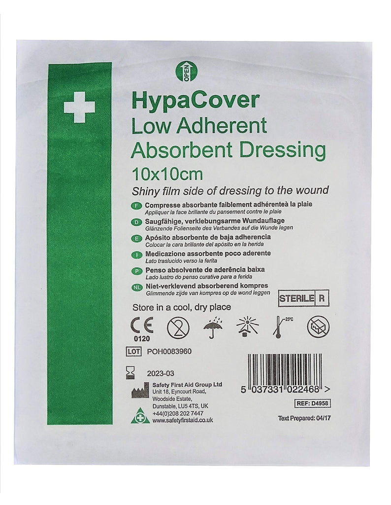 HypaCover Low Adherent Absorbent Wound Dressing 10 x 10 cm (Pack of 10)