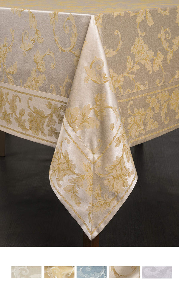 "Benson Mills Harmony Scroll Tablecloth (60"" X 120"" Rectangular, Silver - Gold)"
