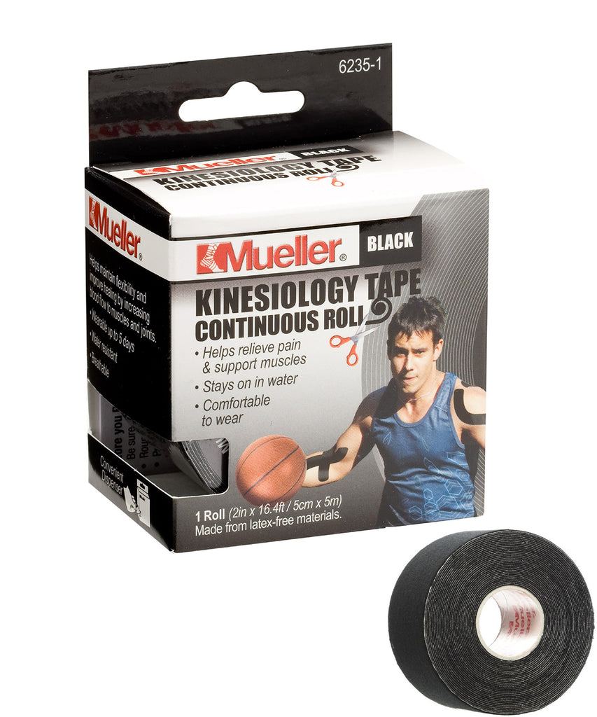 Mueller Sports Medicine Kinesiology Tape, Black, 2 Inches X 16.4 Feet Roll