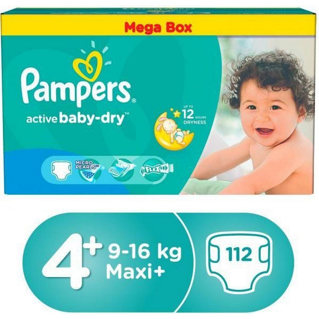 Pampers Active Baby dry Diapers Size 4+,Large, 9-16kg, Mega Box 112pcs