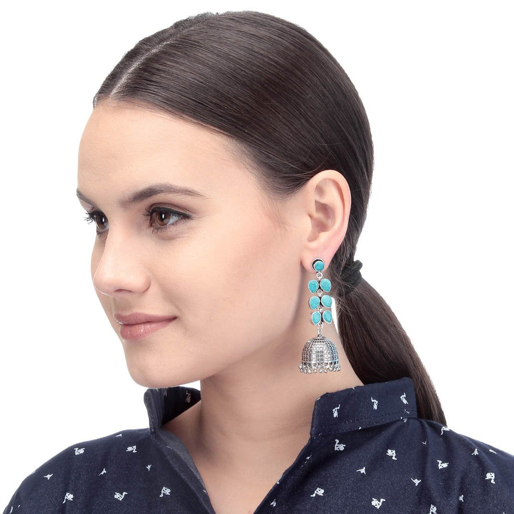 Oxidised Silver Plated Turquoise Blue Color Stones Floral Design Drop Jhumka Earring By Imli Street