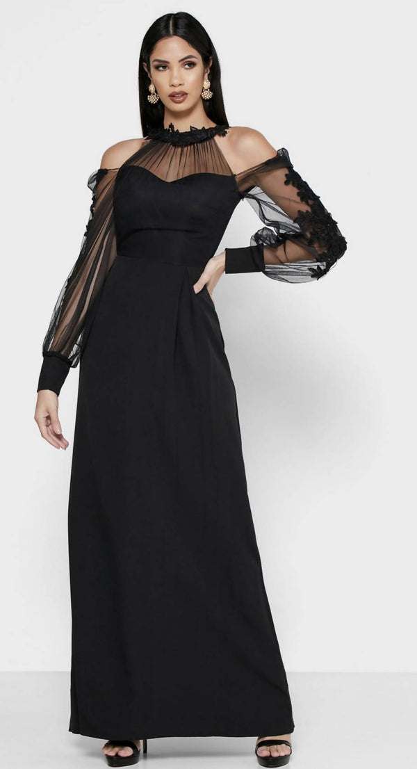 KHIZANA Sheer Detail Cold Shoulder Maxi Dress
