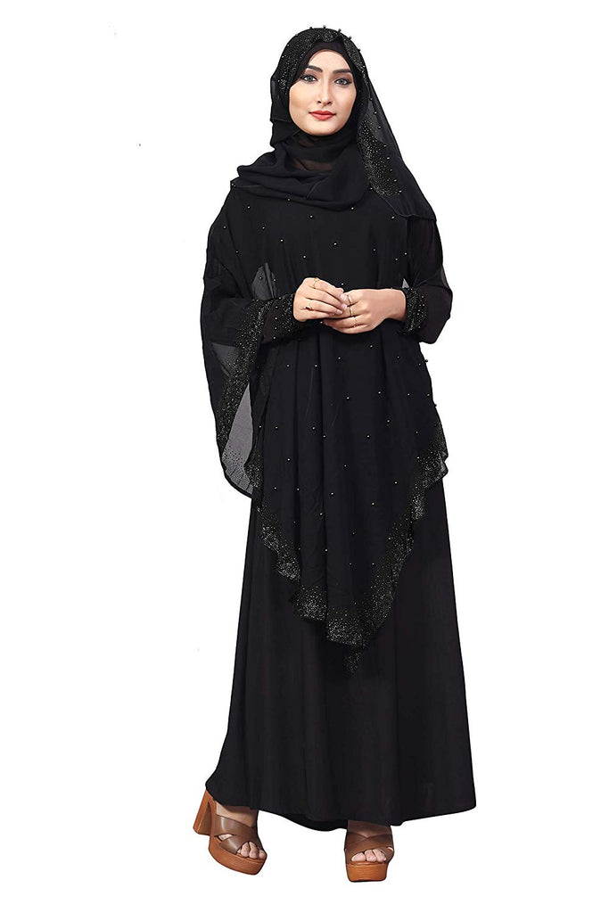 Women's Diamond Lycra Abaya Burqa with Attached Chiffon Jacket and Hijab Scarf (Black; 44)