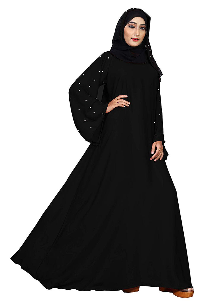 Women's Plain Nida Abaya Burqa with Hijab Scarf (Black; 42)