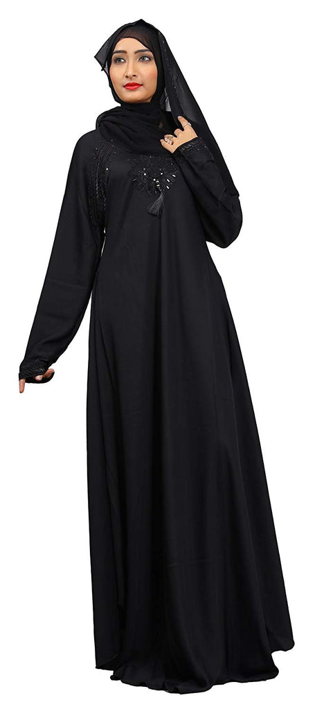 Women's Nida Plain Solid Umbrella Abaya Burqa (JK4740; Black)