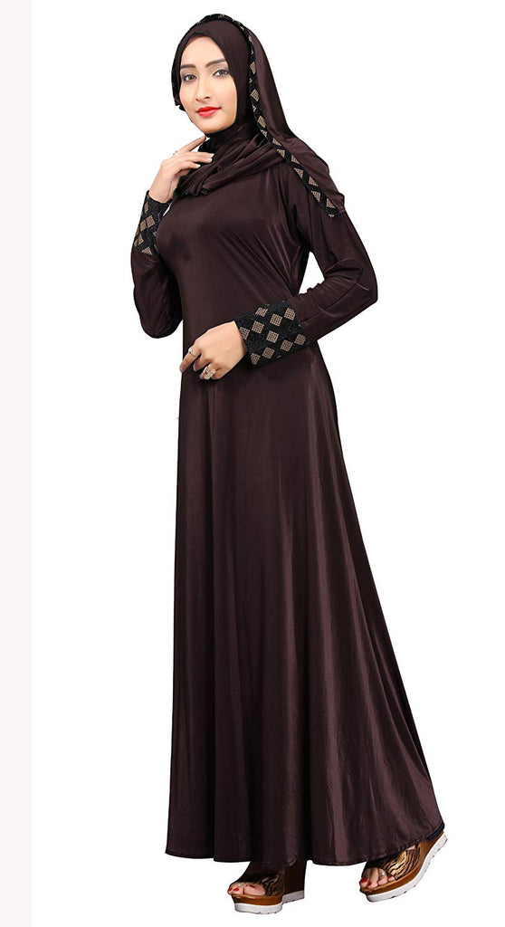 Women's Velvet Embossed Lycra Abaya Burka with Waist Belt (Brown, Chest Size 43'' , Length 58 Inch)