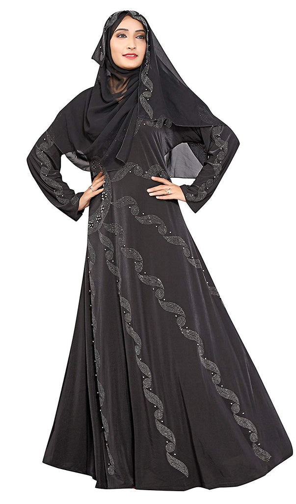 Women's Lycra Burqa with Hijab (JK4789_Black_Free Size)