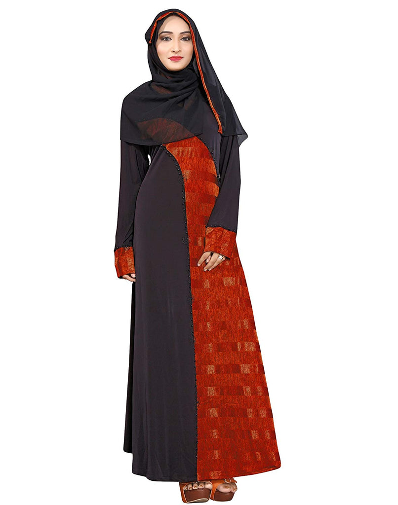 Women's Lycra Islamic Wear Printed Abaya Burkha + Hijab Scarf (Black and Red, Chest Size 44 , Length 56 Inch)